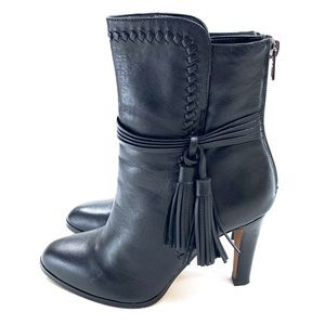 Coach Jessie Tassel Bootie Black Leather Back Zip